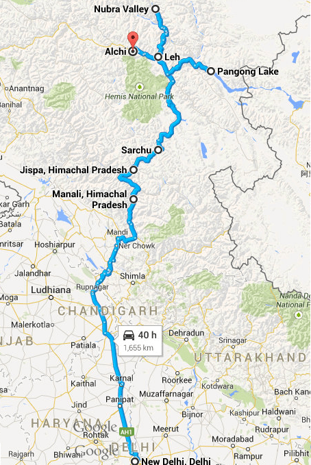 Delhi Manali Leh Nubra pangong Route Map