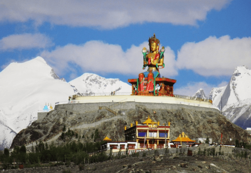 Diskit Gompa and statue of Chamba