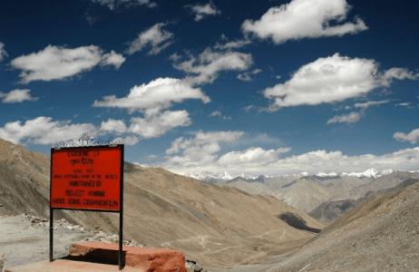 Khardung La top Ladakh India on motorcycle