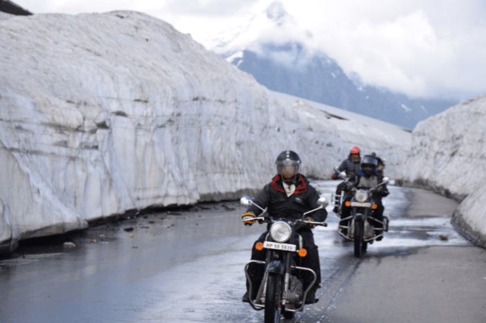 Riders at Rohtang Pass on Manali Leh Highway - Ladakh Motorcycle Trip
