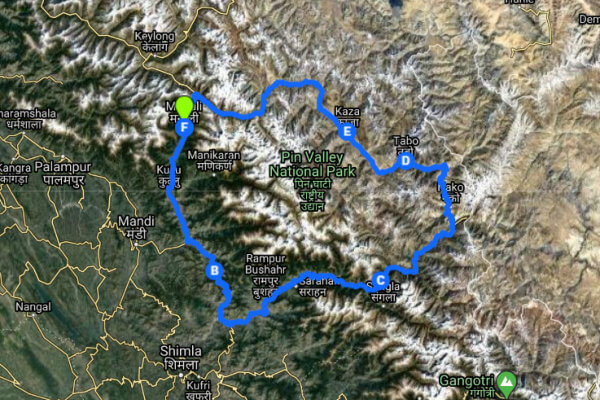 Spiti Valley circuit route Map