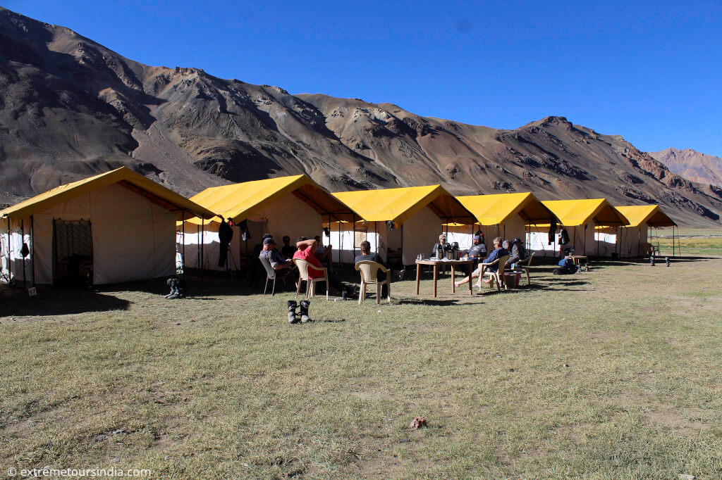 Motorcycle camping in the mountains - Sarchu