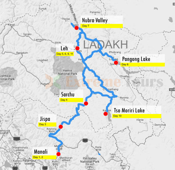 Manali to Ladakh motorcycle expedition route map