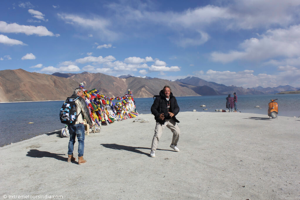 Fun at high altitude mountain Lake - pangong lake
